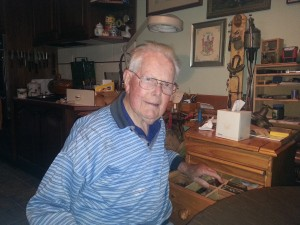 95 year old Frank at his workbench.