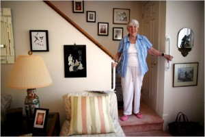 Senior getting help in her home