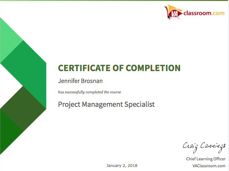 T Certificate Of Completion -Project Managemen