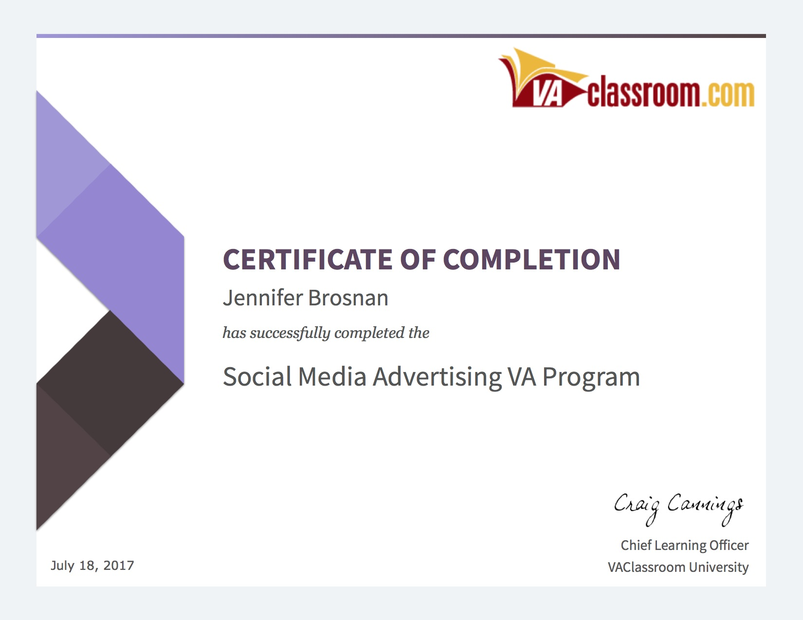 Social Media Advertising - Certificate Of Completion